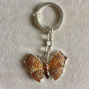 Orange/copper rhinestone butterfly key chain